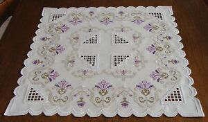 "HARDANGER Embroidery  ""Garden of hope""  an exceptional tablecloth - handstitched"