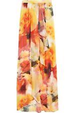 Alice + Olivia 'Leah' Wrap Slit Sunset Blur Crepe Floral Maxi Skirt 4 NWT! $368