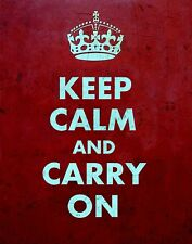 """TIN SIGN """"Keep Calm and Carry On"""" Quotes Art Deco Garage Wall Decor"""