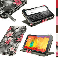 Nero Floreale EcoPelle Custodia Cover per Samsung Galaxy Note 3 N9000 N9005 Case