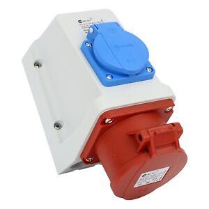 Kombi Wandsteckdose 5 polig CEE 16A IP44 mit Schutzkontakt-Steckdose CEE Combo