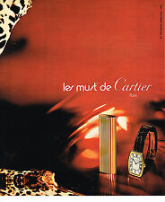 PUBLICITE ADVERTISING  1975   CARTIER  les MUST   briquet montre