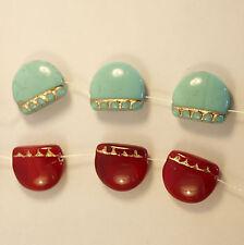 3 perles fantaisie en verre de Bohème feston turquoise 14x17 mm