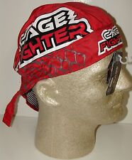 Red Black Cage Fighter Real Men Don't Tap Out Durag Sweatband Headwrap Skull Cap