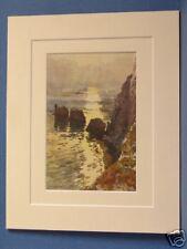 THE NEEDLES ISLE OF WIGHT VINTAGE DOUBLE MOUNTED HASLEHUST PRINT c1920 10X8