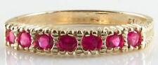 UNUSUAL 9K 9CT GOLD INDIAN RUBY ETERNITY ART DECO INS RING FREE RESIZE
