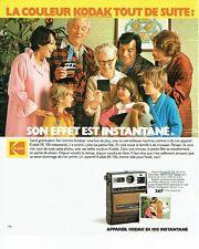 PUBLICITE ADVERTISING 126  1978   appareil photo intantané Kodak EK 100