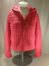 Victorias Secret Moda International Fuchsia Pink Chunky Zip Up Hooded Sweater L