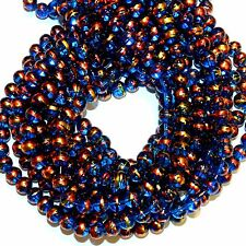 GL1752L 5-Strands Dark Blue 8mm Round Metallic Swirl Drawbench Glass (500 Beads)