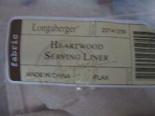 Longaberger Heartwood Serving Basket Liner Flax Fabric New
