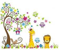 Rainbow Fox Jungle GUFO SCROLL ALBERO Wall Decor Adesivo Woodland Animali Nursery