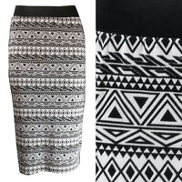 NEW LADIES BLACK WHITE AZTEC PRINT STRIPE PRINT MIDI PENCIL TUBE SKIRT SIZE 8-22