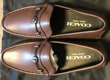 COACH DARK SADDLE CROSBY TURNLOCK LEATHER LOAFERS Sz10