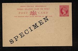 Turks  Islands  postal  card  specimen  unused   one penny      KL0713