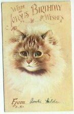 OLD POSTCARD LOUIS WAIN CAT BIRTHDAY WISHES SALMON SERIES VINTAGE USED 1918