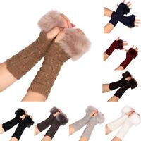 Fashion Women Knitted Fingerless Faux Fur Winter Gloves Soft Warm Mitten Grace