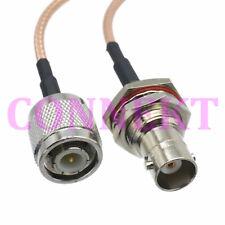 TNC male plug to BNC female jack nut bulkhead RG316 cable jumper pigtail 15cm