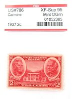 .US STAMP #786 1937 2c CARMINE PSE GRADED XF-SUP 95 MINT OGnh