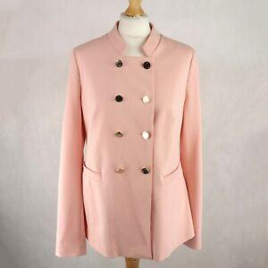 Womens YUMI Military style Pink BLAZER Jacket Size UK 14 Double breasted Gold