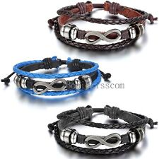 Love Infinity Friendship Charm Multi-layer Leather Men Women Adjustable Bracelet