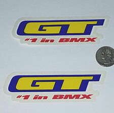 GT #1 BMX 2 STICKERS FREESTYLE RACING BIKE BICYCLE Sticker Nos Decal chain crank