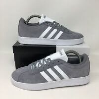 Adidas VL Court 2.0 Kids (Youth Size 2Y) Grey Shoes Athletic Sneakers Boys Girls