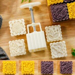 DIY 4 Flower Stamps Moon Cake Decor Mould Pastry Square Mooncake Mold Tool 75g