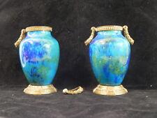 Paire de vases porcelaine de sevres emaillé bleu or signés monture bronze XIXe ?
