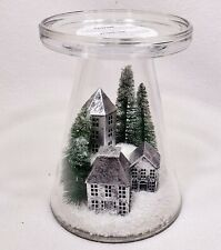 Bath & Body Works WINTER SNOW VILLAGE Large 3-Wick Candle Holder Glass Pedestal