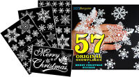 57 REUSABLE SNOWFLAKE STICKERS & MERRY CHRISTMAS GIFT WINDOW DECORATION Xmas