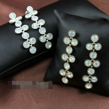 Boucles d'Oreilles Grape Cristal Lune Longue Argent 925 Soirée Mariage XX 5