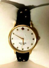Kate Spade Metro Watch Mother of Pearl w/ Black Leather Flower Band KSW1514  NWT