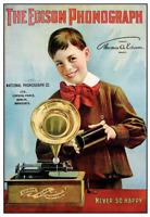 Edison Phonograph - 11 x 16 poster print - Boy