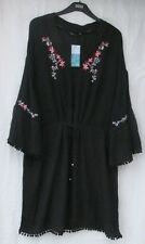 LADIES MARKS AND SPENCER BLACK BEACHWEAR COVER UP WITH FLORAL EMBROIDERY SIZE L
