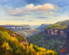 Original Oil painting Australian landscape of Blue Mountains by Chris Vidal