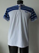 Hugo Boss Green Label Golf Polo Shirt XL Slim Fit White Blue Cotton Spandex