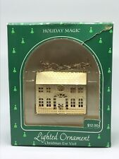 A9 Hallmark Lighted Ornament Christmas Eve Visit Gold Tone Brass 1985 Made USA