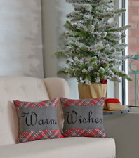 Country Christmas Warm Wishes 2 Piece Plaid Pillow Set