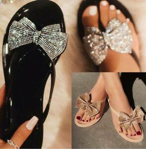 Diamante Bow Beach Jelly Sandals Flip Flop Ladies Slider Women Summer Shoes Size