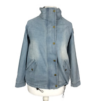 Xiduoduo Women's Size 12 Medium Light Blue Denim Zip & Snap Button Jacket NEW