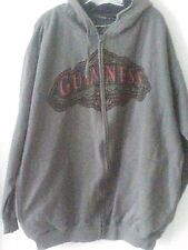 Guinness Logo Men's Long Sleeve Gray Zip Up Cotton Blend Hoodie Sweatshirt  XXL