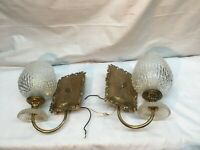 Vintage Pair  Brass & Glass Shades Light Sconces Wall Fixtures Mid Century