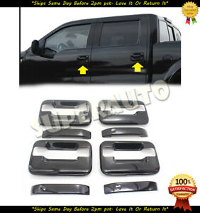 For 2004-2014 Ford F150 Crew CAB Gloss Black Door Handle Covers W/o PSK W/keypad