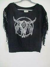 L Denim & Supply Ralph Lauren Women's Top Bull skull Fringe Shirt blouse