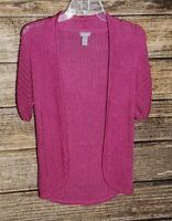 Chico's Size 1 Pink Open Front Sweater Chunky Knit Short Sleeve Medium Women's