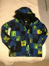 Quicksilver Ski Jacket in blue, black and green check Age 12 detachable hood