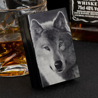 New Laser Engraving Wolf Aluminum Metal Cigarette Case For 20 Cigarettes Black