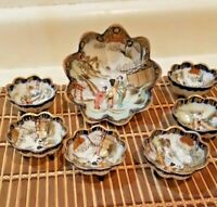 Japan Geisha Girls Oriental Blue Gold 3 Footed Nut Berry Bowl Set 7 Pc