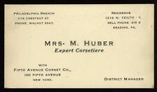 Antique Business Card Mrs Huber Corset Maker Corsetiere 5th Ave Corset Co. NY
