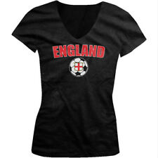 England Red And White National Soccer Sports Ball Juniors V-neck T-shirt